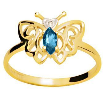 Blue Topaz and Diamond Ring  Butterfly  - BEE-24661-BT
