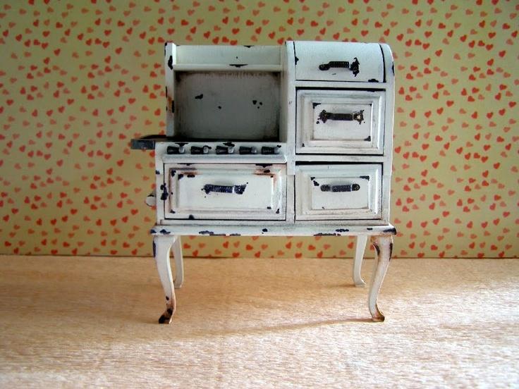 Cocina de gas antigua: Toys Miniatures Doll Houses, Dollhouse Miniature, Wood, Customizing Wooden, De Gas, Dollhouse Minis, Miniature Dollhouse, Dollhouses, Cooker