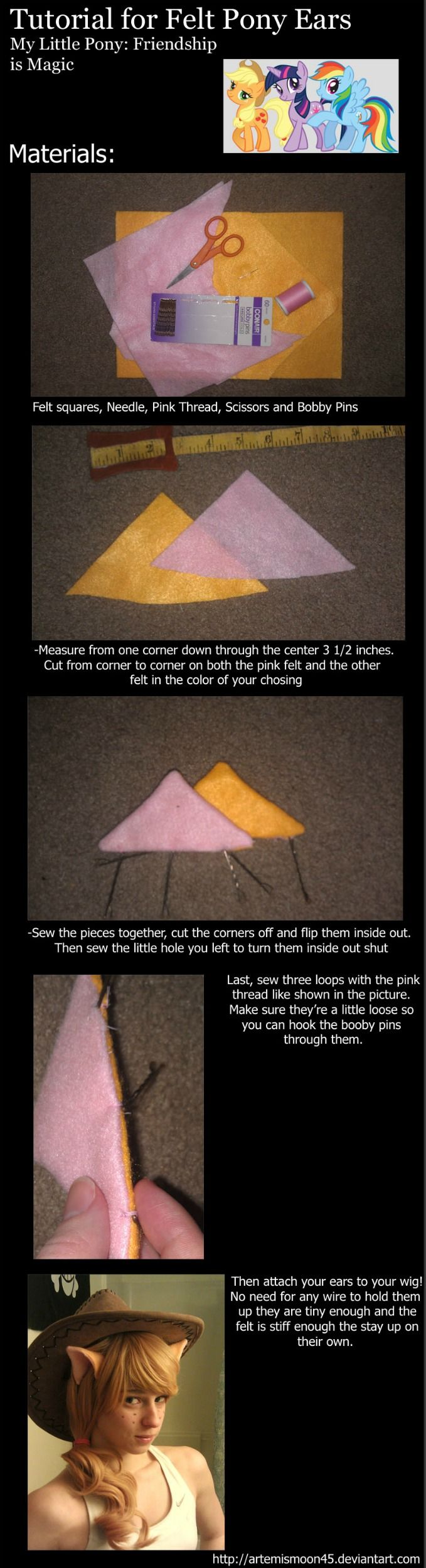 Felt Pony Ears Tutorial MLP:FiM by *ArtemisMoon45