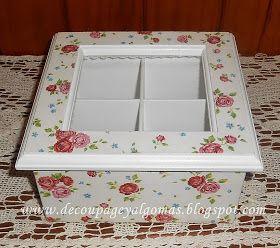 Caja de té de 4 divisiones con decoupage,     decorada con un clásico motivo de rositas.     Buen fin de semana,   Sandra