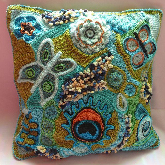 "Anke's ""Freeform Crochet Pillowcover""...a work of art!"