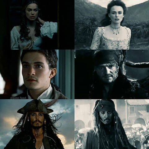 Elizabeth, Will, and Captain Jack Sparrow in Curse of Black Pearl and Dead Men Tell No Tales