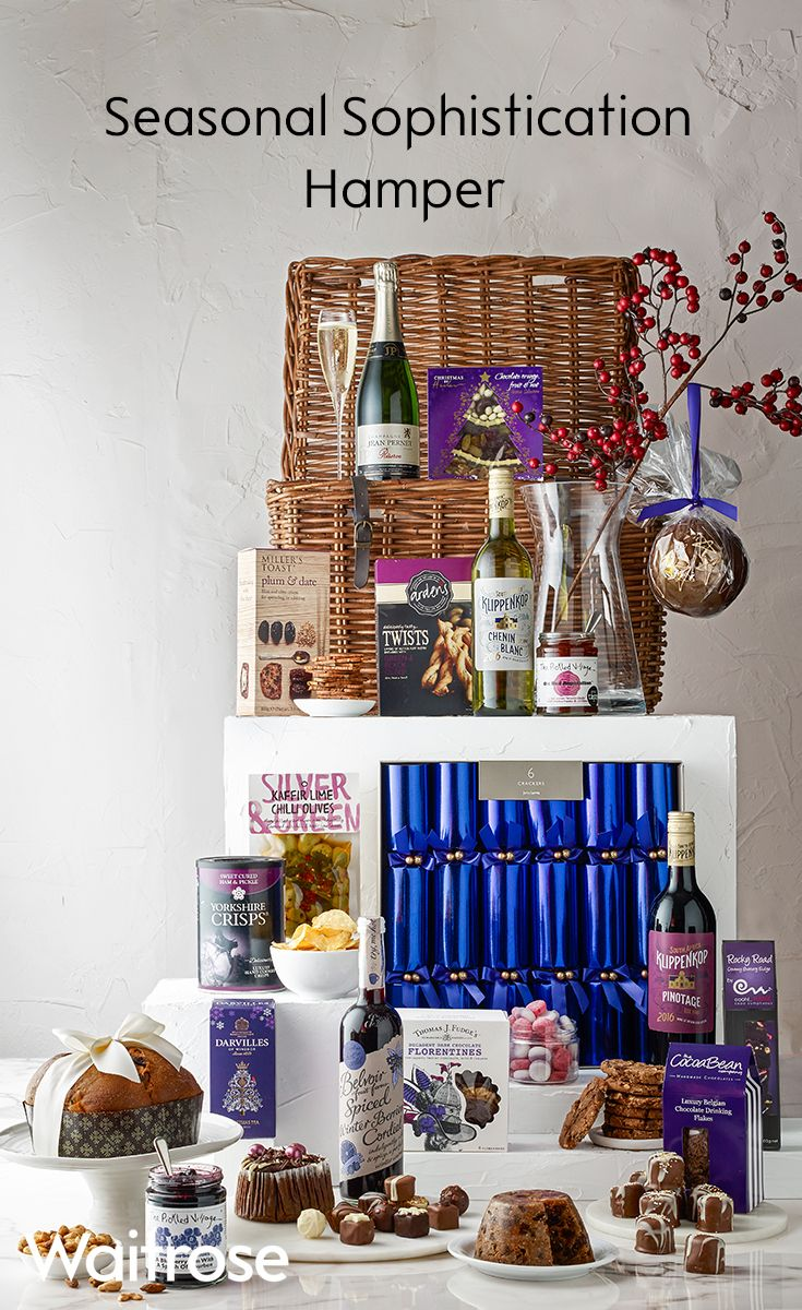 If you're looking for a sophisticated gift then this purple themed hamper is perfect. It includes, Champagne, a luxurious Christmas pudding, dark chocolate Florentines and much more. This hamper is sure to impress!  See more on the Waitrose Gifts website.