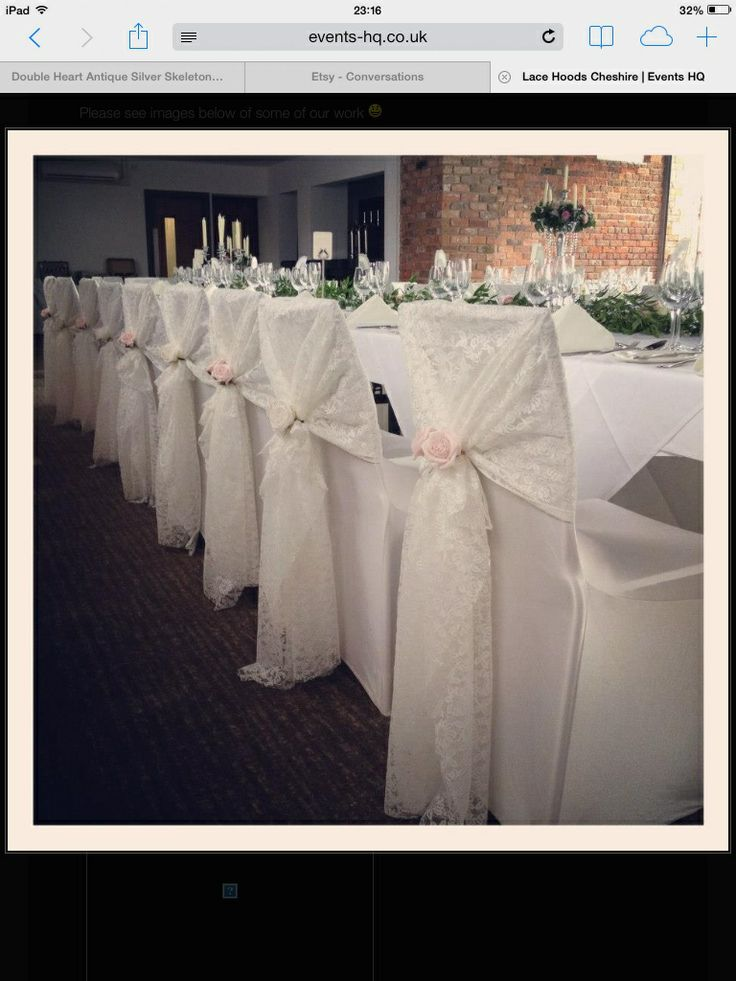 Beautiful chair covers with lace hood and rose