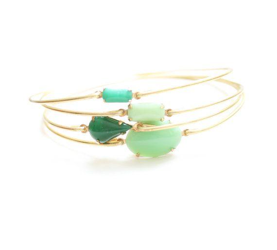 Greens Vintage Bangle Set Stackable Bracelet by SweetAuburnStudio, $37.00