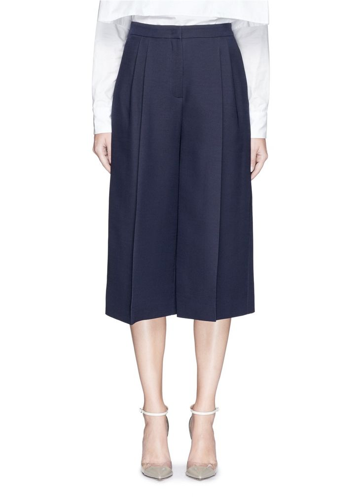 VALENTINO Double Pleat Front Wool-Silk Culottes