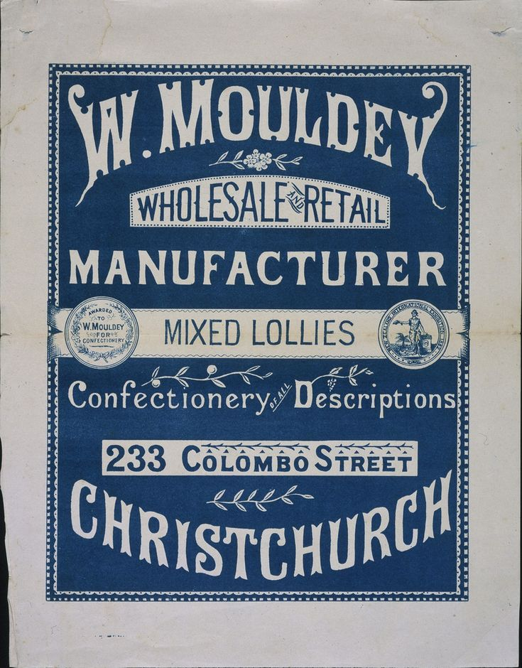 William Mouldey (Firm), W. Mouldey. Mixed lollies, confectionery of all descriptions, 1883-1890, One-colour (blue) relief print on flyer, 287 x 219 mm, Printed Ephemera Collection, Alexander Turnbull Library