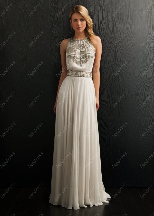 Sliver Beaded Bohemian Chiffon Wedding Dresses Backless Bridal Gowns
