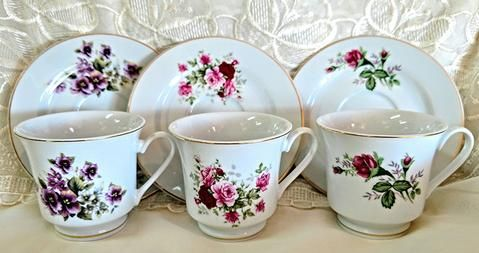 Assorted Floral Wholesale Tea Cups and Saucers