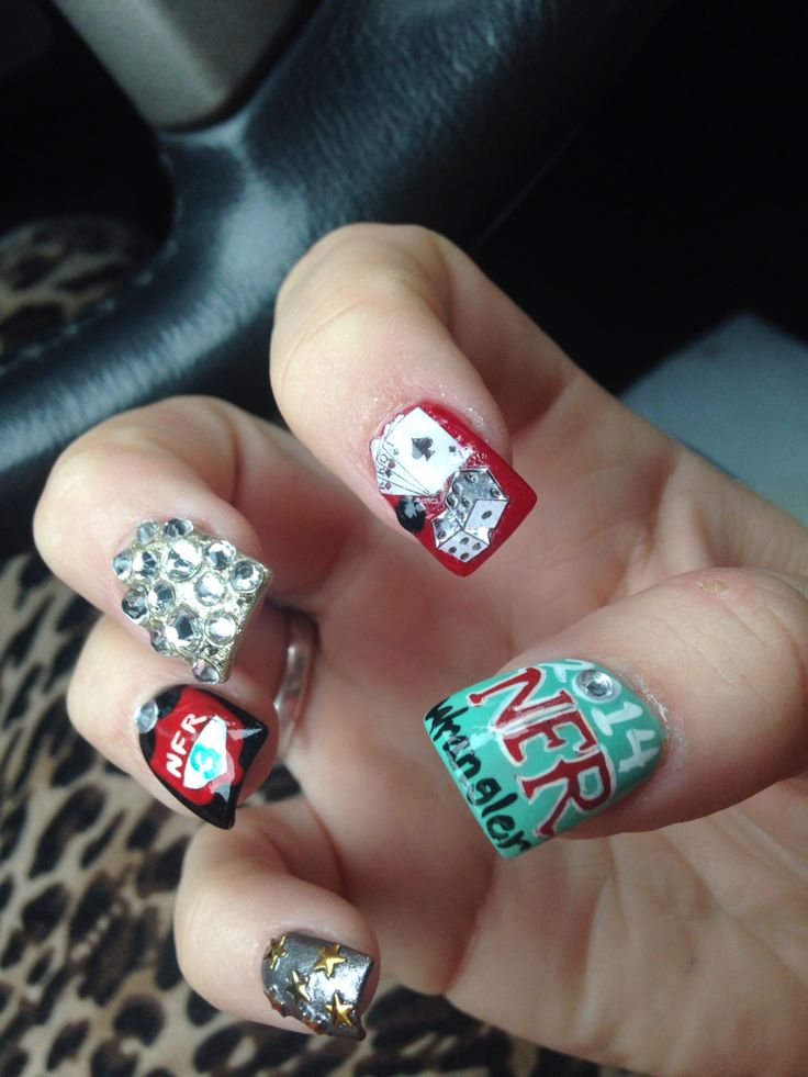 NFR Vegas bling nails rodeo cowboy Viva Las Vegas ! Loving my custom nfr nails