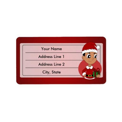 Christmas boy cartoon custom address label