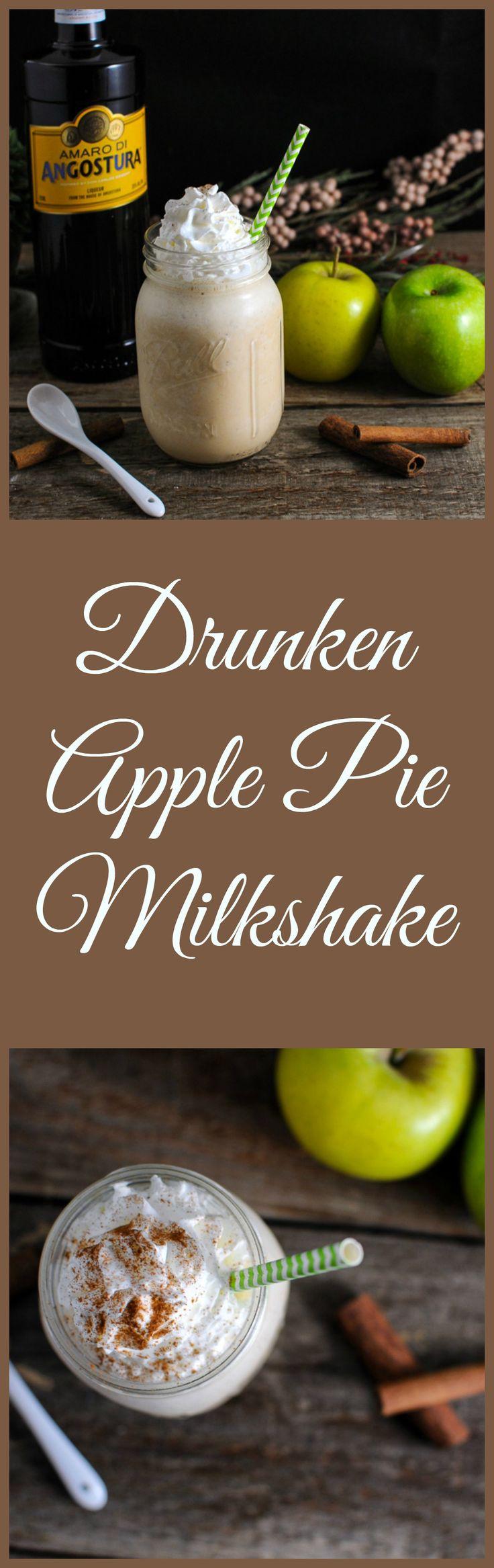 Vodka, Amaro, apples, ice cream, graham crackers, and milk in this Drunken Apple Pie Milkshake! #apple #liquor #icecream #desserts