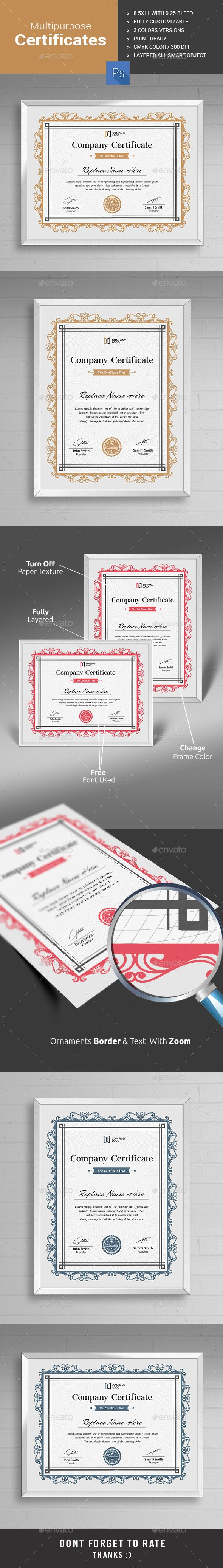 Modern Multipurpose Certificate PSD Design I Certificate Templates for multipurpose usage I Download: https://graphicriver.net/item/certificate/13567317?ref=jpixel55