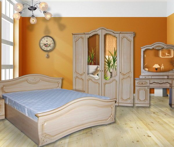 Спальня «Анастасия»  4-х дв. (комод + трельяж) крем