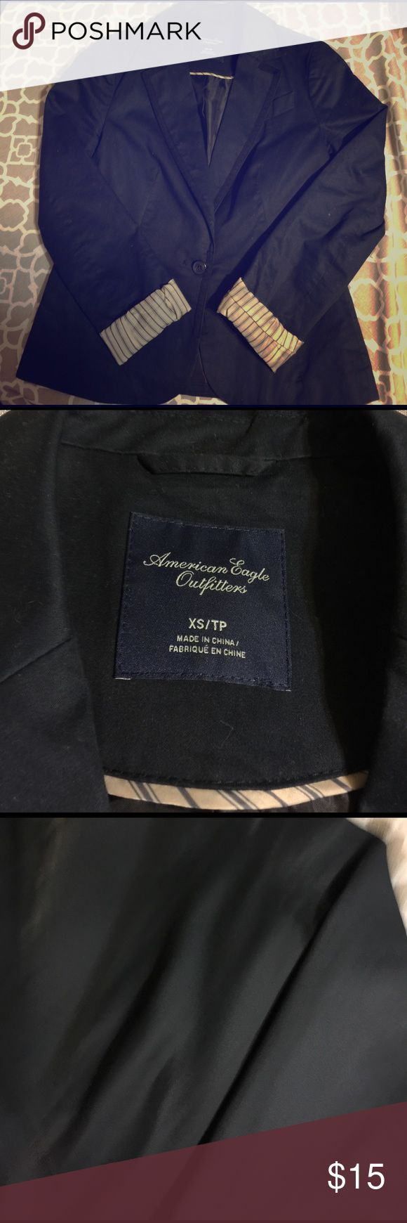 American Eagle outfitter navy blazer w/black trim Blazer is your first black really versatile. Only worn a couple of times. In great condition. Shell is 100% cotton lining 100% polyester American Eagle Outfitters Jackets & Coats Blazers