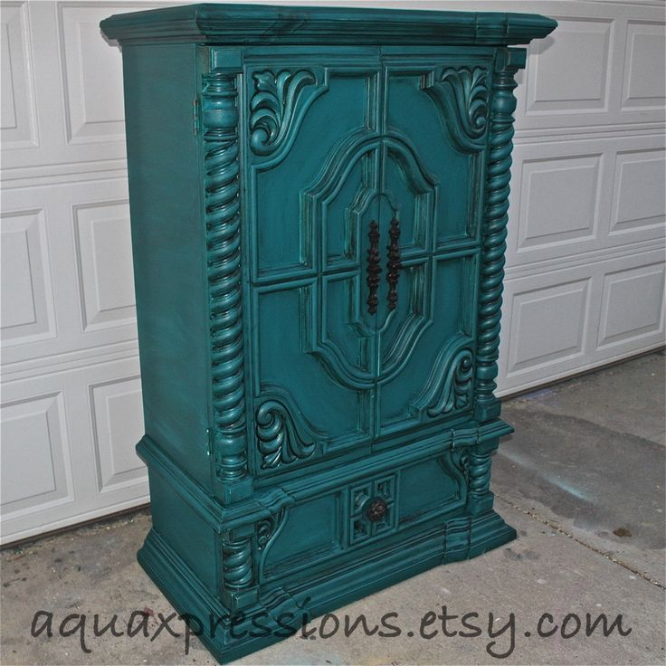 Vintage Armoire /Gypsy Teal / Bedroom Furniture/ Distressed /Black Drawer Pulls/ TV Stand/ Storage -Custom Paint to Order. via Etsy.