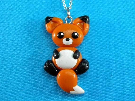 Kawaii Orange Fox Charm Necklace Pendant Jewelry Polymer Clay
