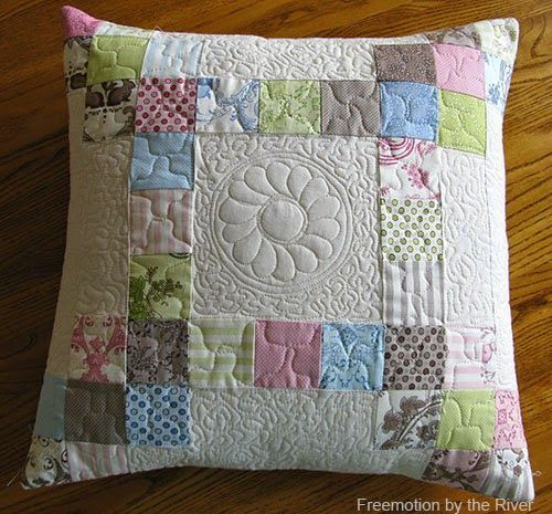Quilted pillow at Freemotion by the River