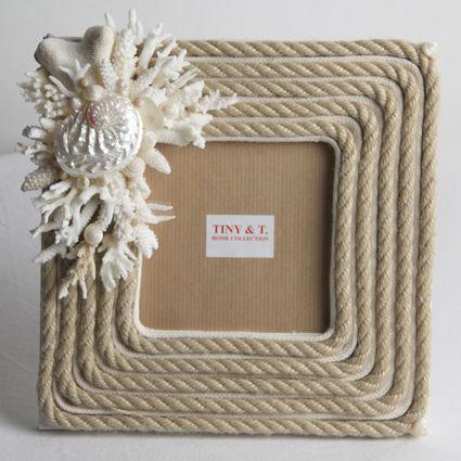 Cornice con cordone in canapa corallo bianco conchiglia madreperla | CRISTINA VIDOLINI