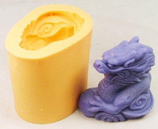 Dragón 3D jabón molde molde de silicona Flexible para jabón hecho a mano velas pastel dulce Fimo resina artesanía R0462