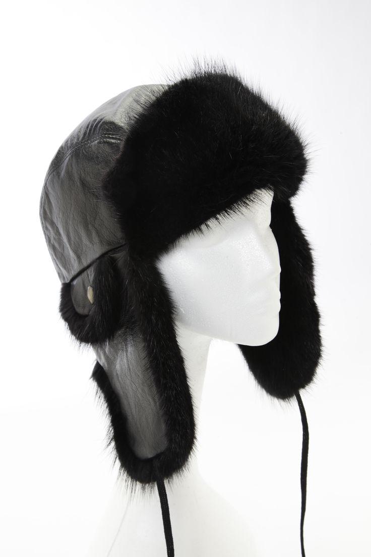 Chapeau aviateur rat musqué noir / Black muskrat aviator hat