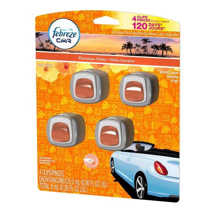 Febreze Car Vent Clips Hawaiian Aloha Scent 3-pack
