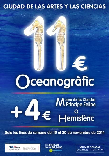 In celebration of 15 million visitors, the #Oceanogràfic in #Valencia, #Spainis launching a special promotion which begins this weekend and will be valid on weekends only from 15 to 30 November. For more details: http://www.turisvalencia.es/es/sugerencia-vlc/promocion-oceanografic-valencia