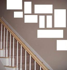 idea how to arrange pictures in stairway