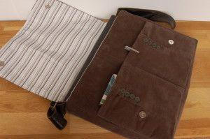 Tutorial for Messenger Bag using upcycled men's jacket
