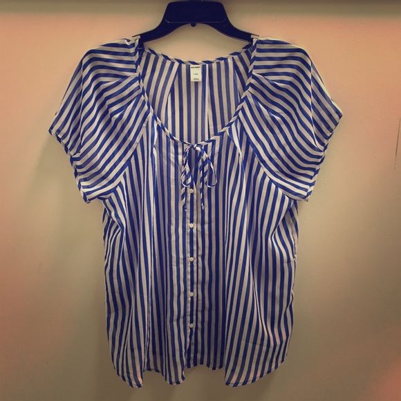 Sheer Striped Blouse Royal blue and white vertical striped button down, pair with a Cami and go!  Mint condition. NO TRADES Old Navy Tops Blouses