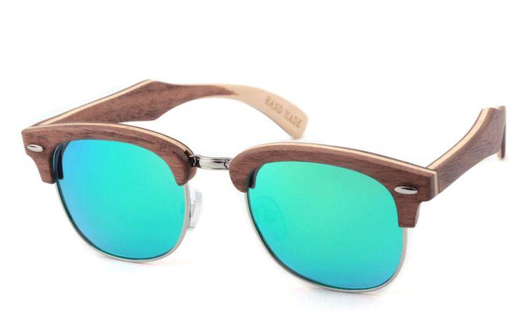 $65 - Wooden Half-Lense Frame Designer Sunglasses