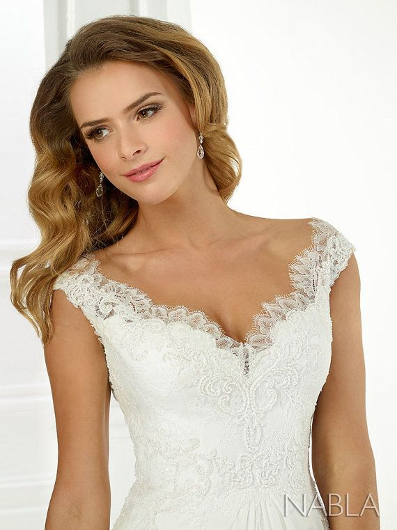 Wedding Dress Bridal Gown Beaded Lace Top by Embellishthedress