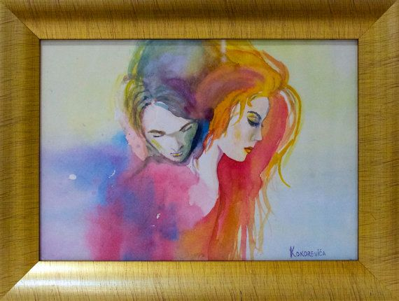 Framed watercolor painting 'Between us' by kokorevicaieva on Etsy
