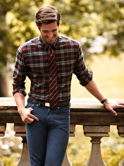 Classic fall look. Don't be afraid to mix patterns...