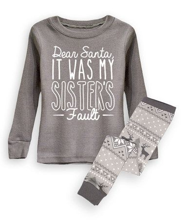 Look at this #zulilyfind! Charcoal 'It Was My Sister's Fault' Pajama Set…