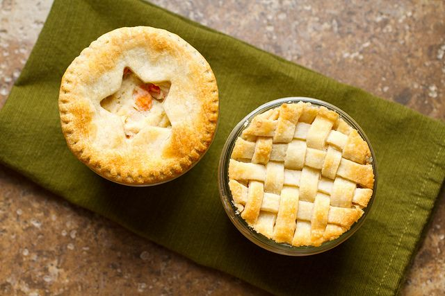 Mini Chicken Pot Pies made in wide-mouth Mason Jars!  Freeze ahead.  When ready to eat, place jars in oven!