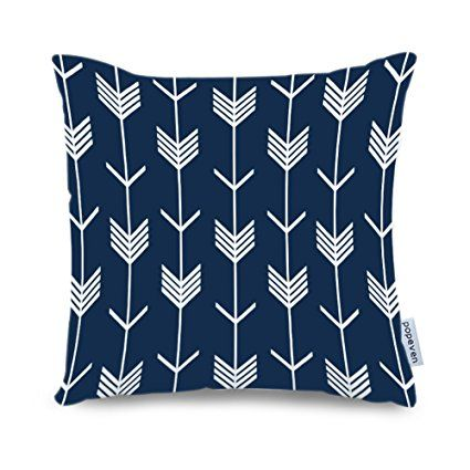 Popeven Navy Blue Arrow Decorative Pillow Covers Arrow Geometric Pattern Pillow Case for Sofa 18 x 18 Inch Square Canvas Throw Pillows for Couch