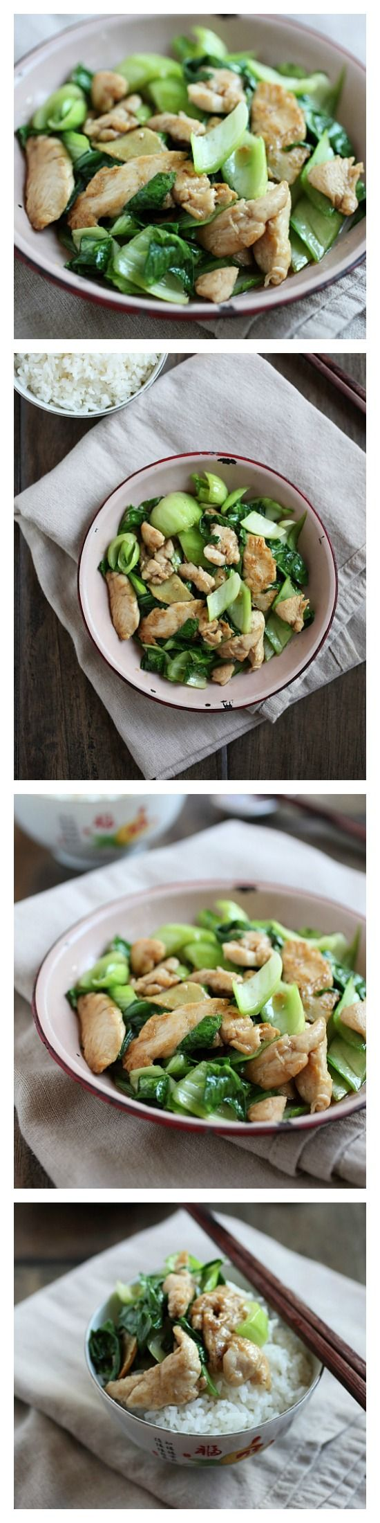 {China} Bok Choy Chicken Recipe - easy and healthy stir-fry with 3 basic ingredients only. So YUMMY and takes only 15 mins to make | http://rasamalaysia.com