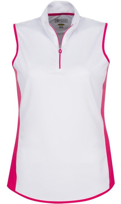 Pretty in Pink (White) Greg Norman Ladies Sleeveless Zip Color Blocked Golf Polo Shirt. Find more ladies outfits at #lorisgolfshoppe