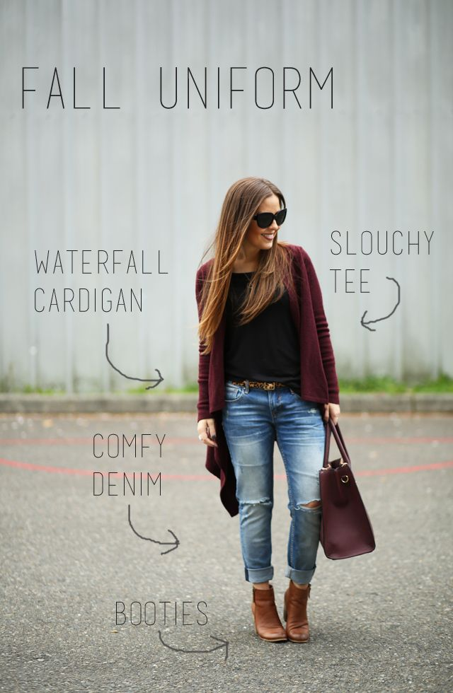elements of a fall uniform. waterfall cardigan, slouchy tee, comfy denim, booties.