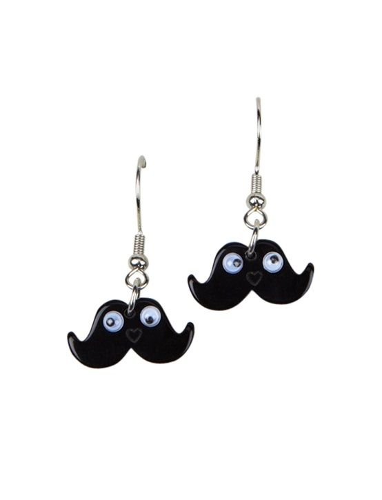 Image result for mustache earrings for girls