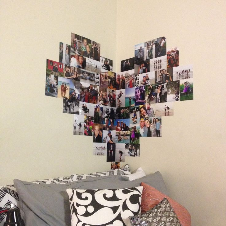 Heart shaped photo collage #college #dorm