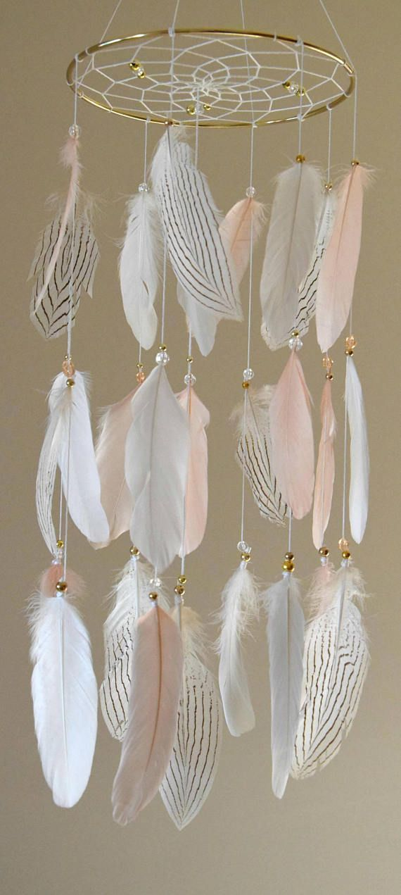 Baby Mobile Dream Catcher Blush Gold  Nursery Decor Baby