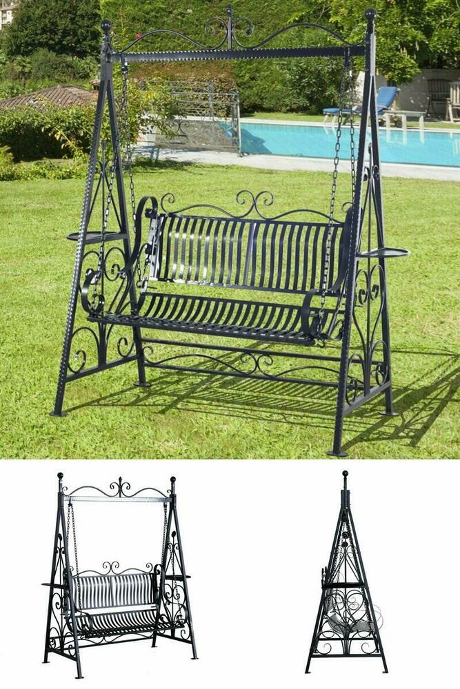Sensational Vintage 2 Seater Swing Bench Garden Outdoor Patio Black Alphanode Cool Chair Designs And Ideas Alphanodeonline