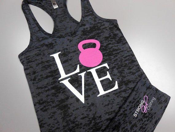 Love Kettlebells Tank Top. Love Kettlebells Shirt. Kettlebell Swings. Womens Crossfit Tank Top. Womens Workout Tank. Womens Gym Tank.