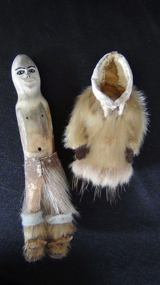 OLD Native American Alaska Alaskan Inupiat Indian Carved Eskimo Doll Fur Parka