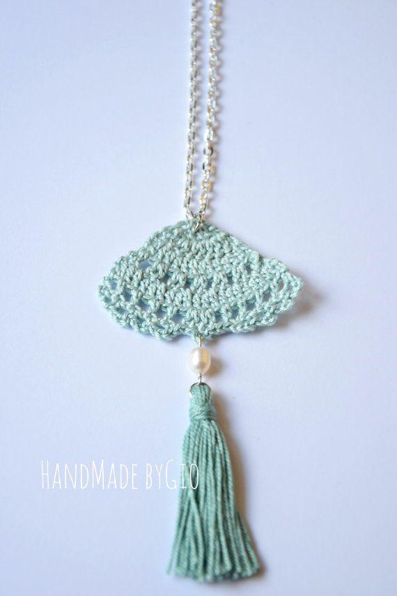 Dandelion crocheted pendant with tassel and by HandMadebyGio