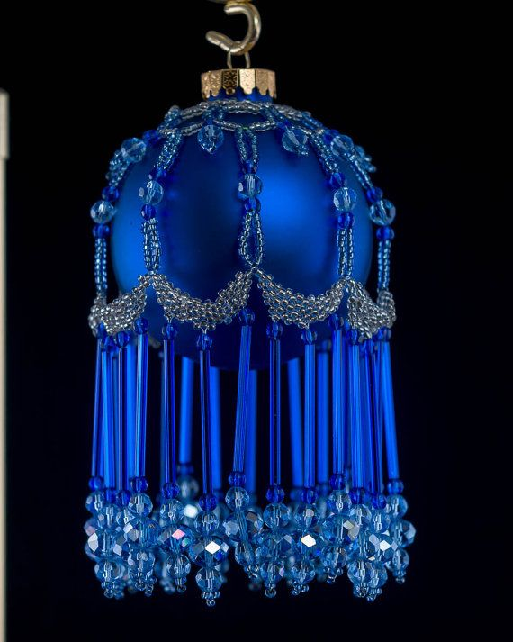 Rich blue ball ornament with blue seed crystal by BeadedChristmas, $75.00