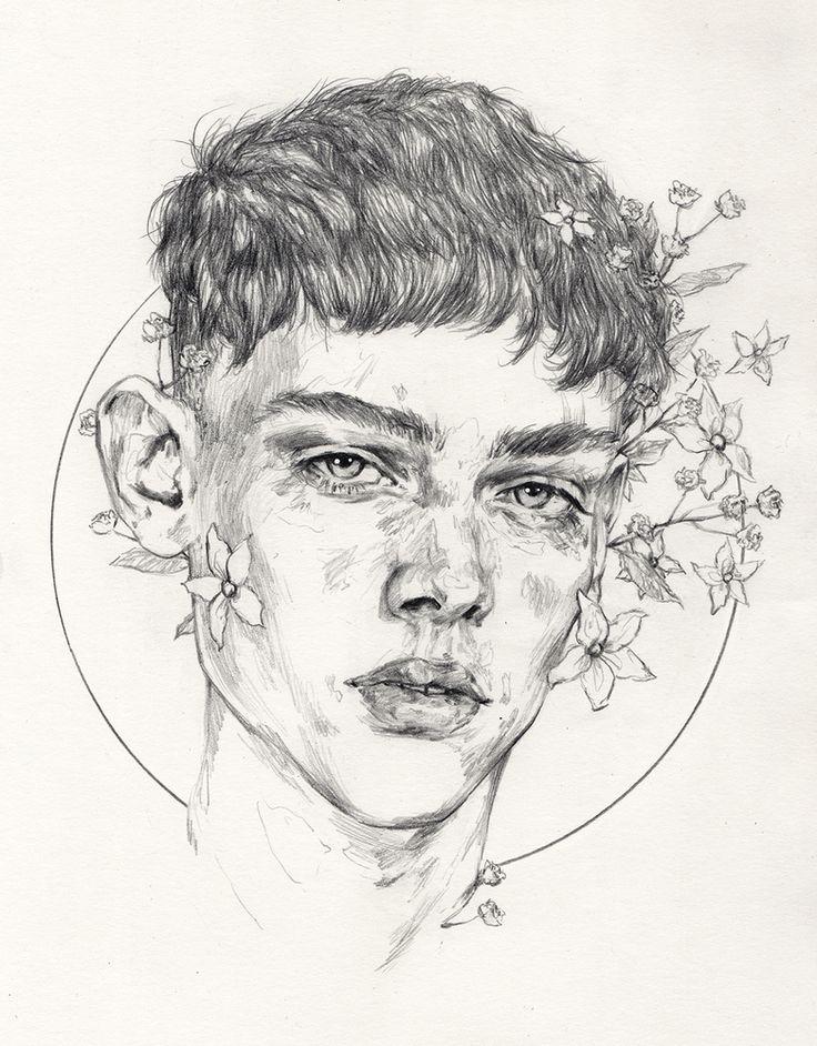 """Bouquet"" by Adria Mercuri, male head portrait drawing. adriamercuri.com"