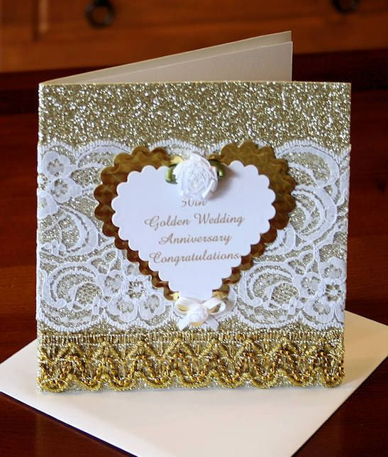50th Golden Wedding Anniversary Card with by CardsbyCoralJean